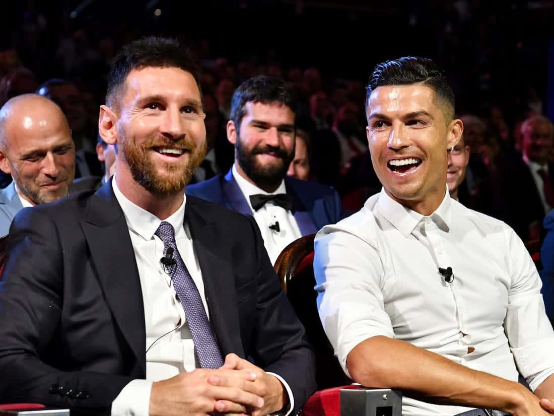 Lionel Messi with Cristiano Ronaldo