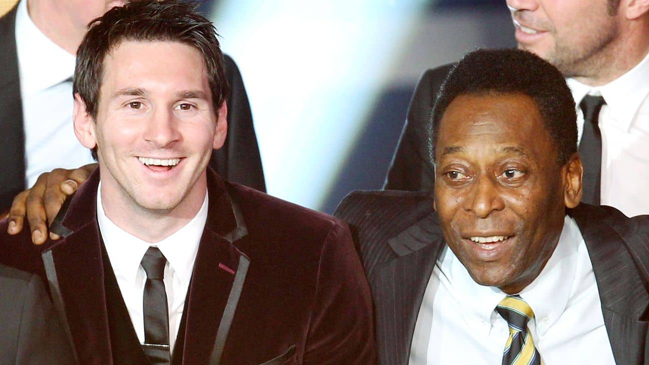 Pele with Lionel Messi