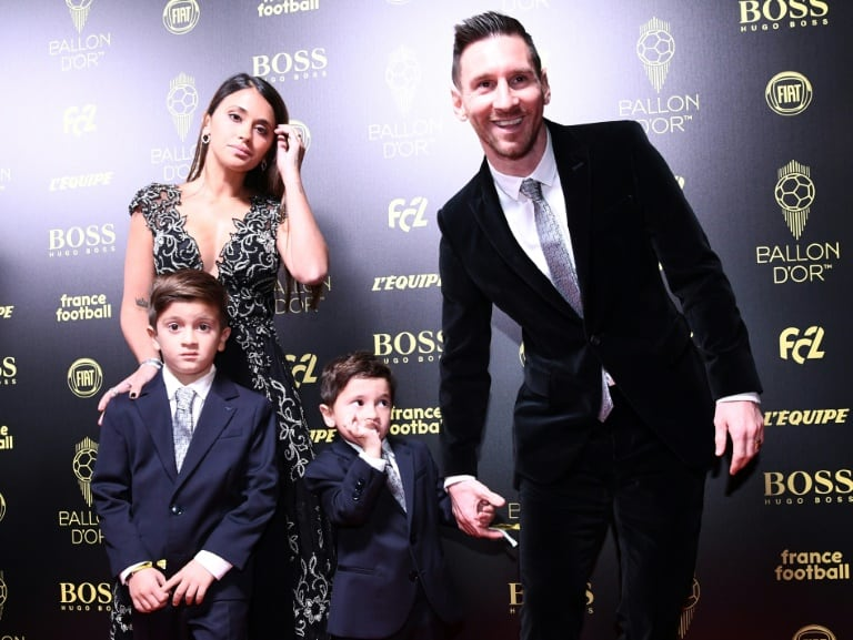 Soccer Player, Lionel Messi with his family