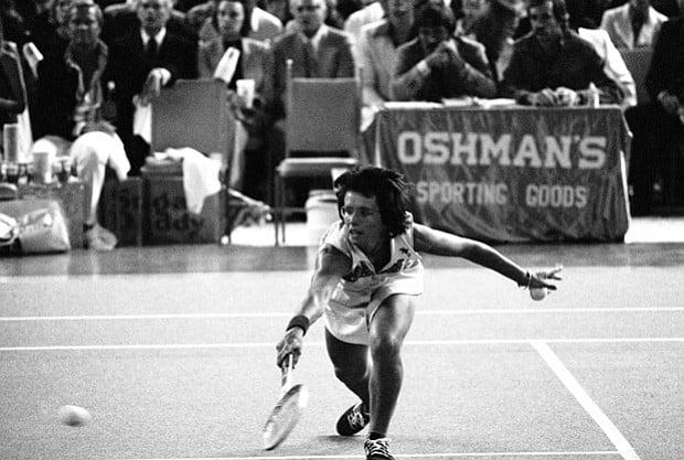 Billie Jean King on field
