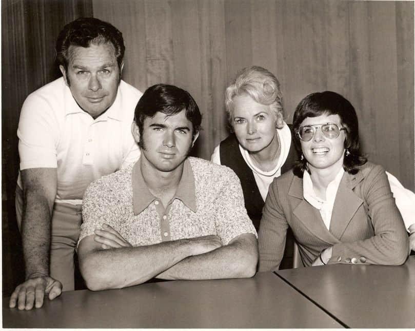 Billie Jean King with family: (l to r) Bill Moffitt (father), Randy Moffitt (brother), Betty Moffitt (mother), and Billie Jean King (née Moffitt)