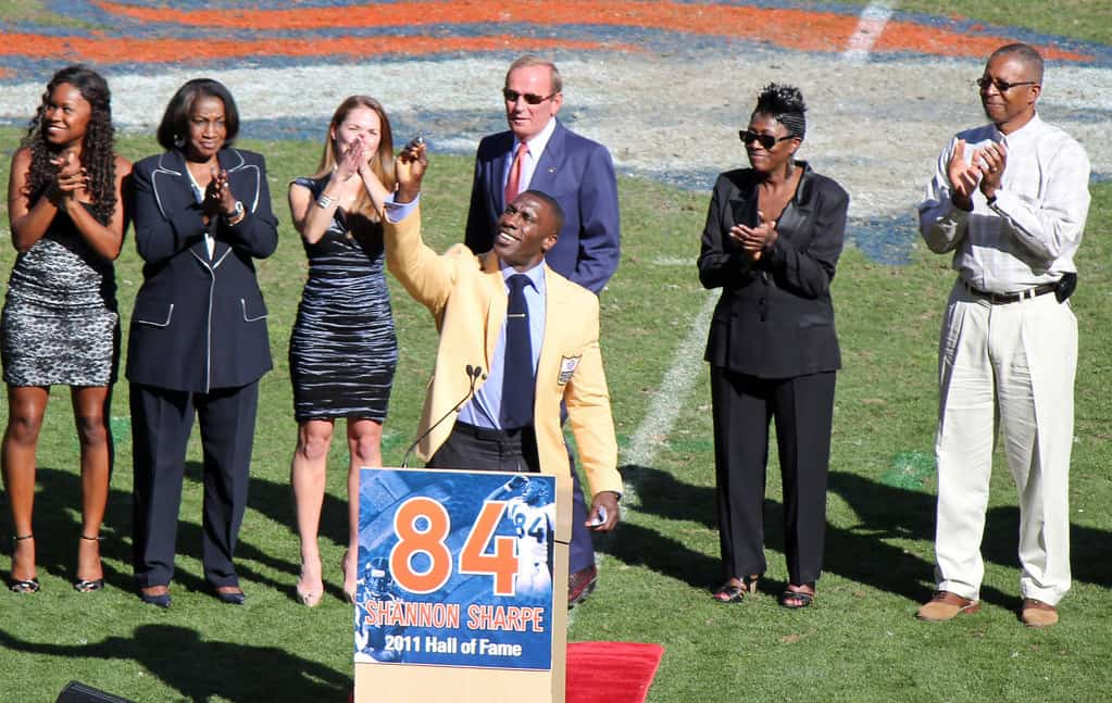 Shannon Sharpe at his ring of fame ceremony