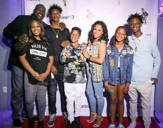 Shaquille O'Neal with his family