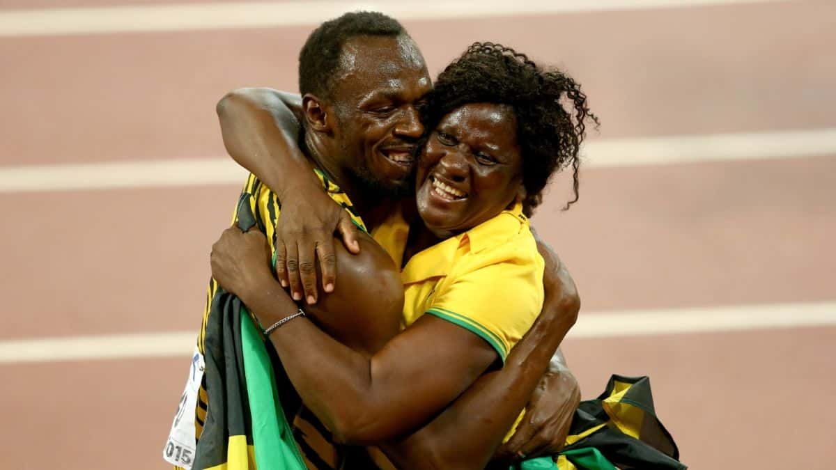 Usain Bolt with his lovely mom