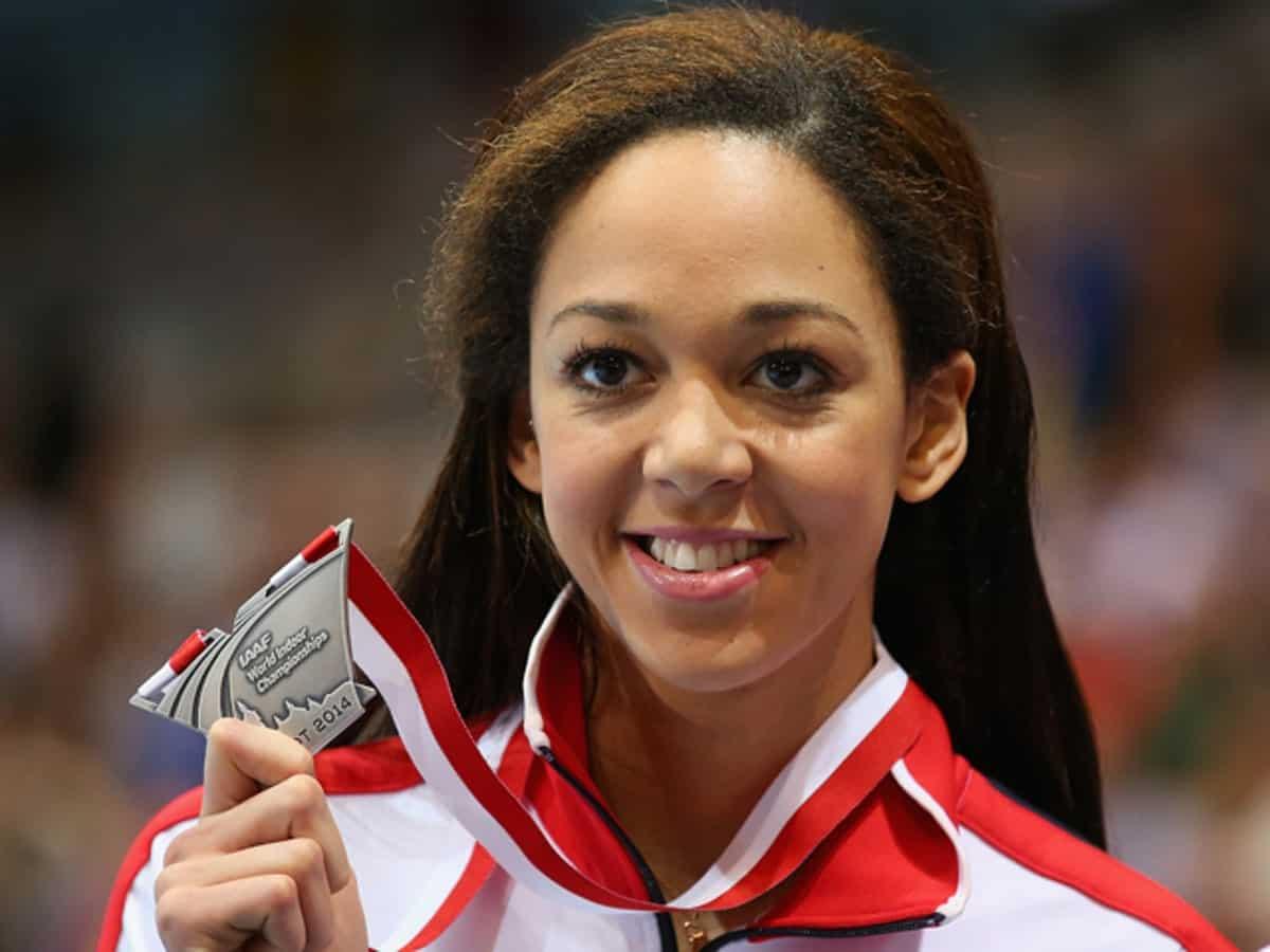 Katarina Johnson-Thompson with her precious award