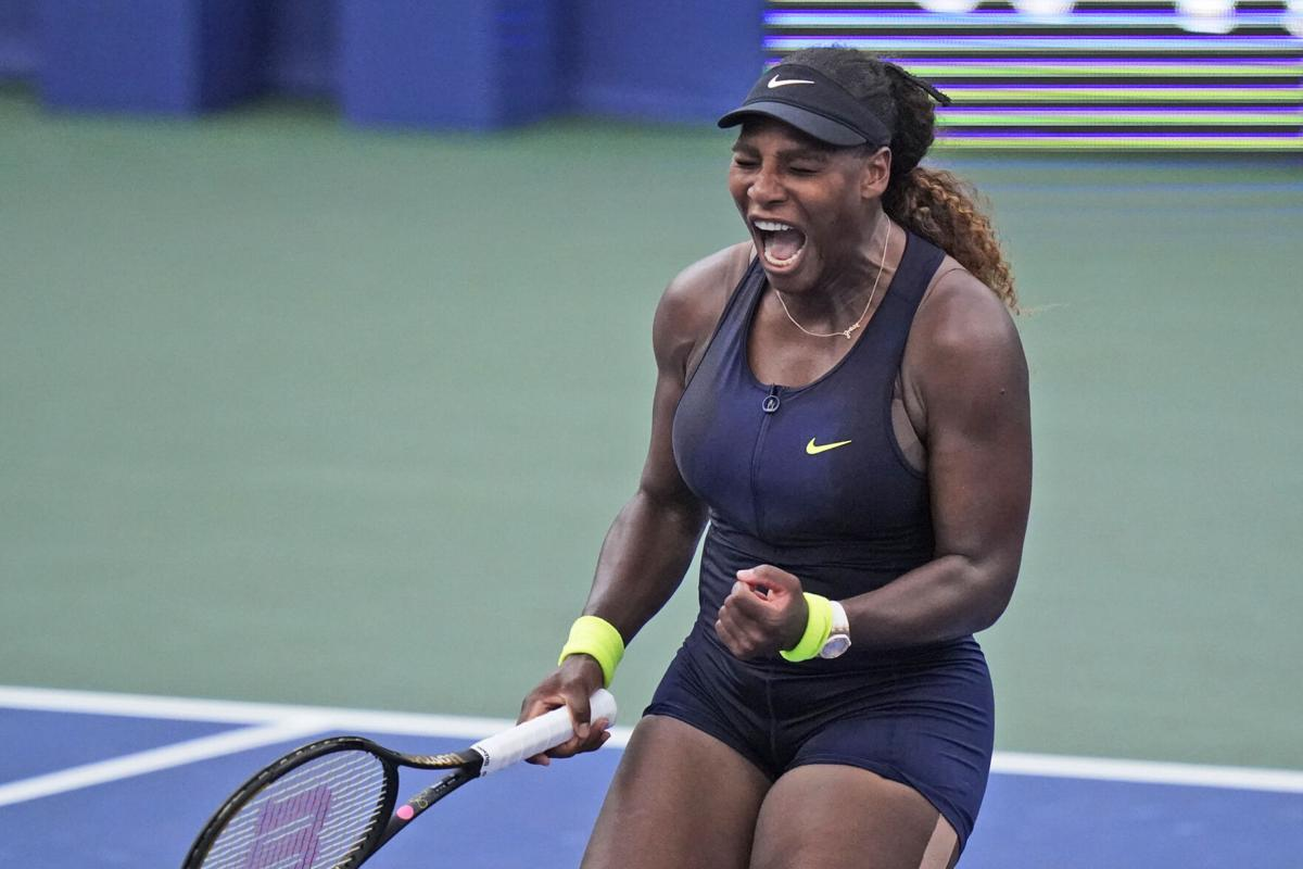 Serena Williams on field with excitement