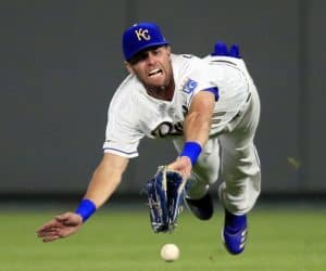 Bubba Starling trying to stop ball