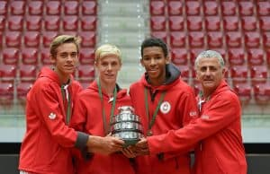 Denis (right-second) with First Junior Davis Cup Title