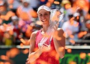 Johanna Konta holds 2017 Miami Open trophy.