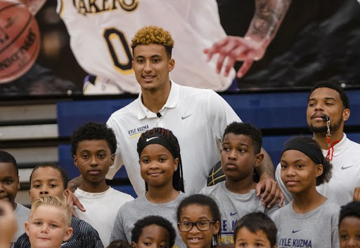 Kyle Kuzma with his fans