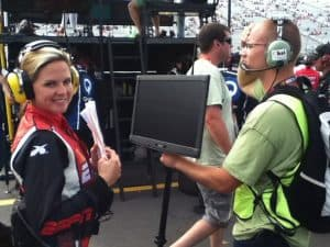 Shannon Spake as a pit reporter