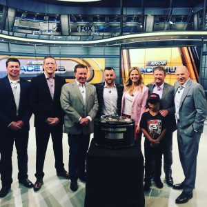 Shannon at NASCAR Race Hub with friends.