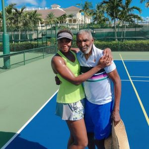Venus Williams with her father, Richard.