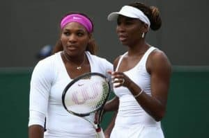 Vwnus and Serena Williams at the Wimbledon doubles.
