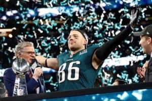 Zach Ertz celebrates Super Bowl LII victory.