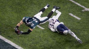 Zach Eryz flying for a touchdwon at Super Bowl LII.