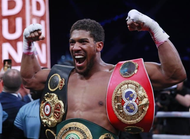 Anthony Joshua in his victory