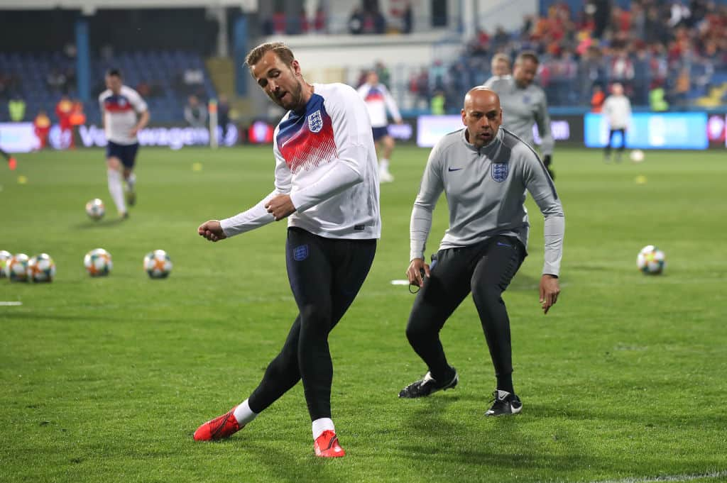 England's Harry Kane (left) warms up /o/ during the UEFA Euro 2020 Qualifying, Group A match at the Podgorica City Stadium. (Photo by Nick Potts/PA Images via Getty Images)