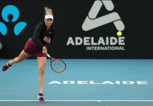 Donna Vekic playing in action at Adelaide international