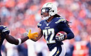 Jason Verrett for the San Diego Chargers in a match against Denver Broncos