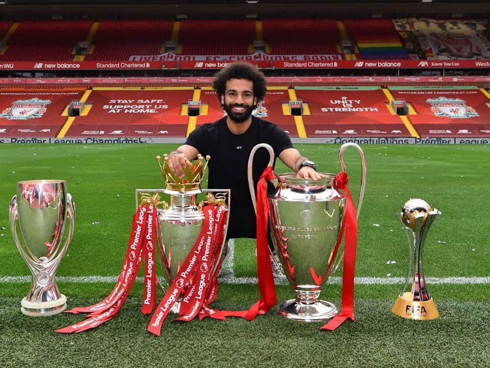 Mohammed Salah with trophies
