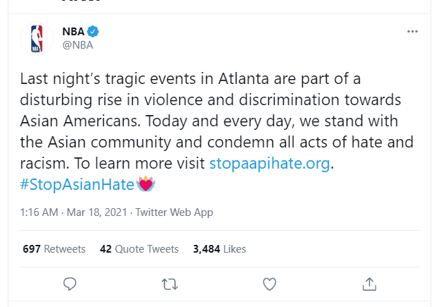 NBA reacts to recent incident against Asian American and trend #StopAsianHate