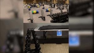 weight room for men (above) and women (below)