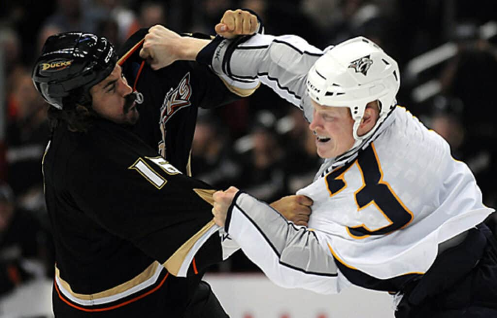 Wade Belak and George Parros during a fight