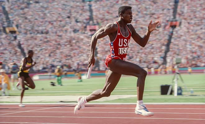 Carl Lewis during the Olympics