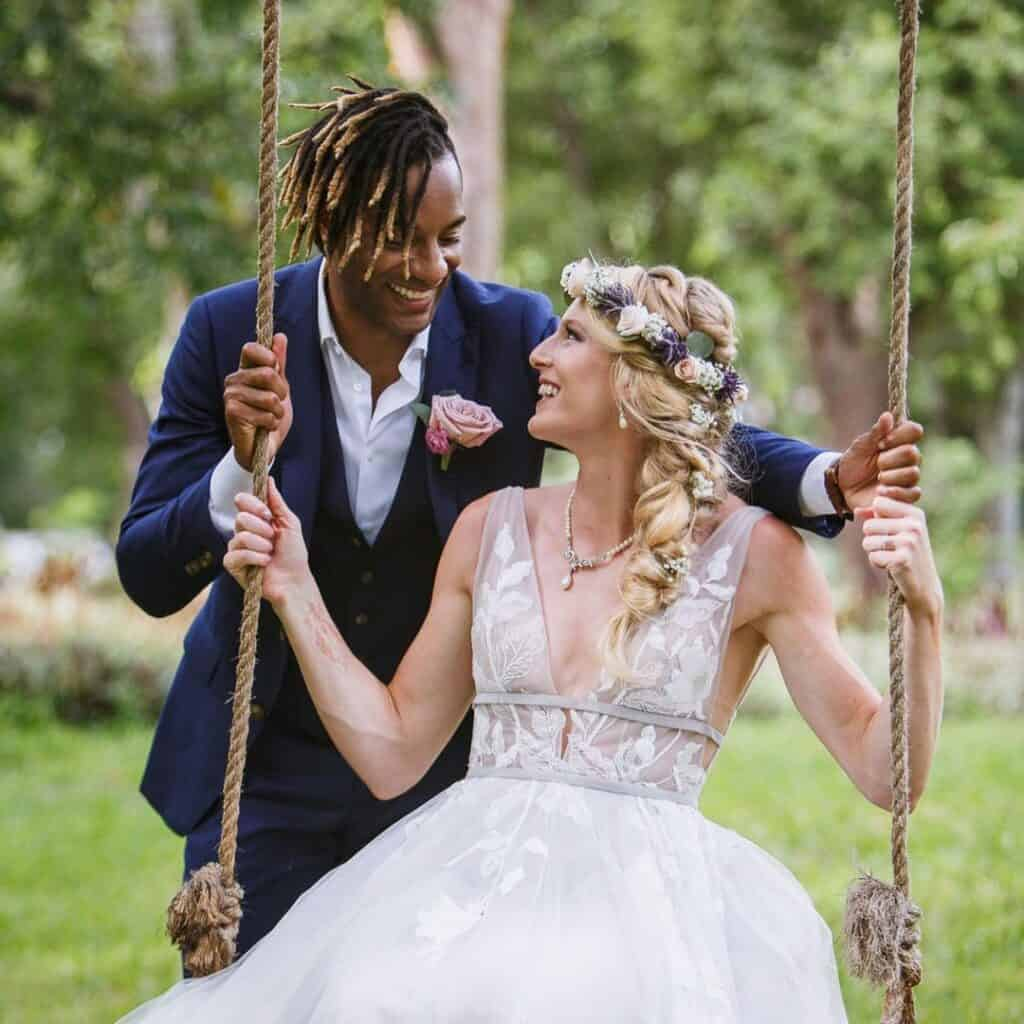 Sandi Morris with her husband