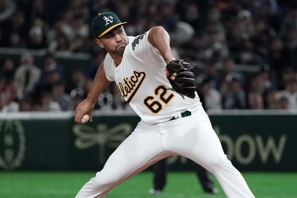 Lou Trivino playing for Oakland Athletics