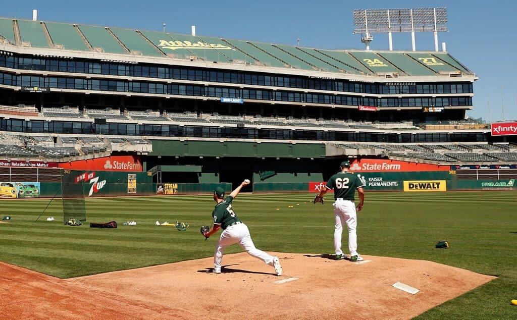 Lou Trivino practice Oakland Athletics