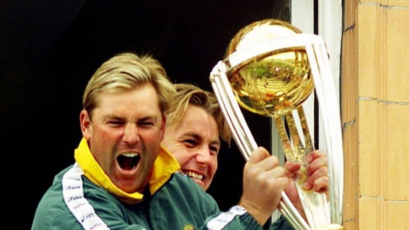 Shane Warne with the 1999 World Cup Trophy