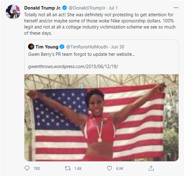 A Tweet by Donald Trump Jr. in response to Gwen Berry's viral photo