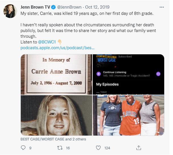 Jenn on her sister's death