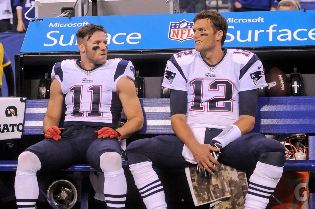 Julian Edelman with Tom Brady