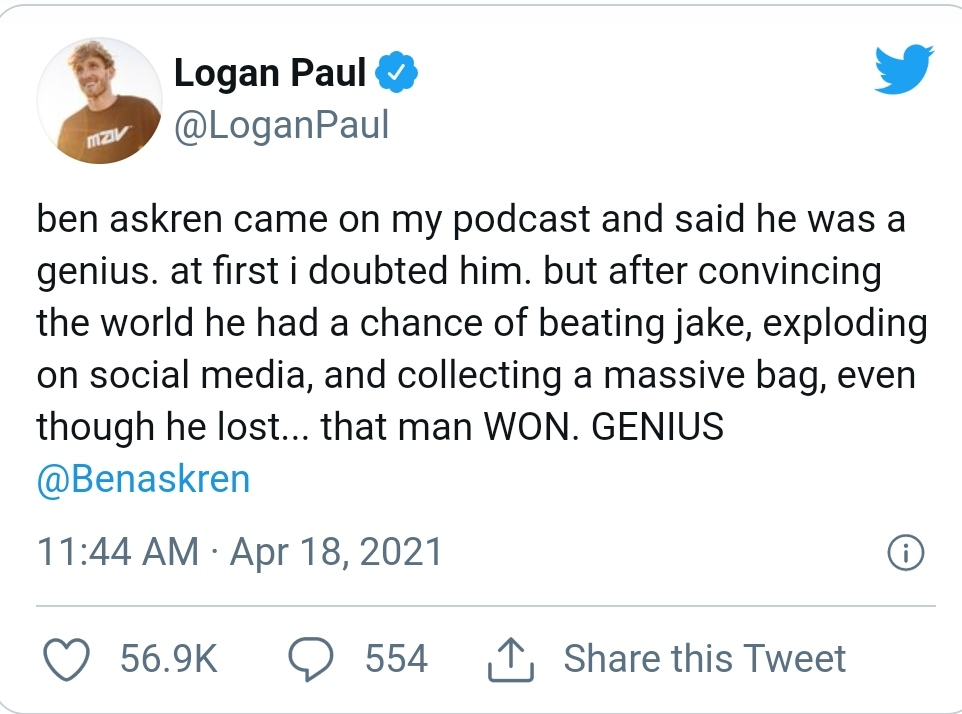 Logan Paul calls Ben Askren a genius!