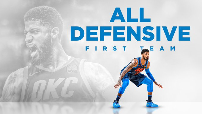 Paul George is 4 time NBA All-Defensive First Team