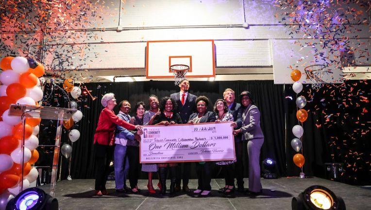 Tobias Harris donating on community draft