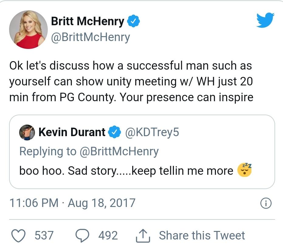Tweet feud between Durant and Britt
