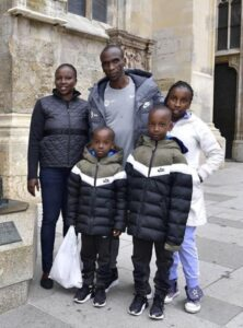 Eliud Kipchoge with his family.
