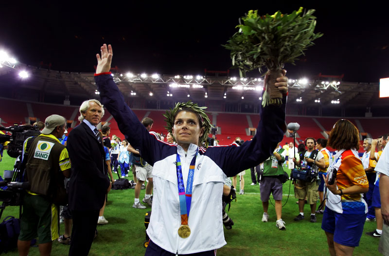 Mia after winning gold in Athens Olympic