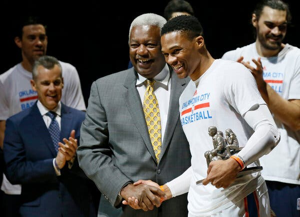 Oscar Robertson congratulating Russell Westbrook after surpassing his triple double record