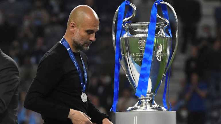 Pep Guardiola With The Runner-ups Medal In The Champions League