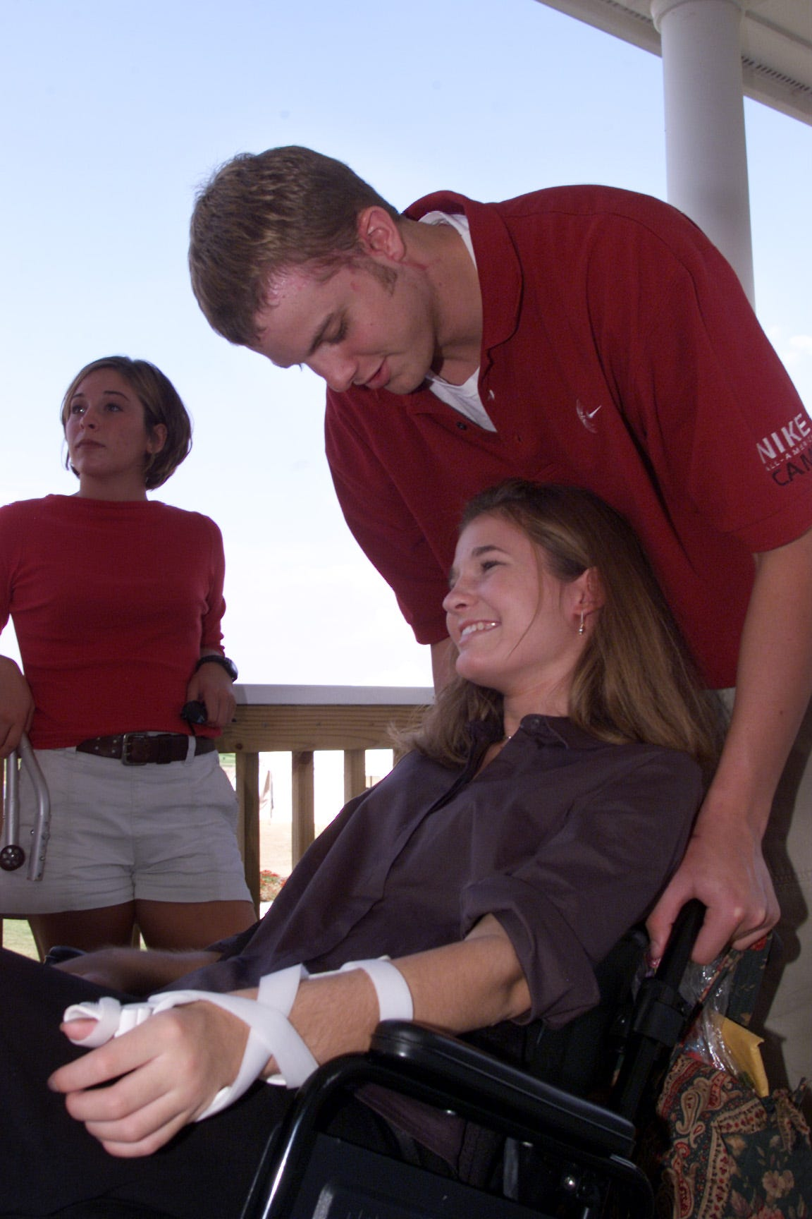 Luke Recker with Kelly Craig who became wheelchair bound after the accident.
