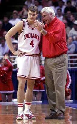 Luke Recker with his Indiana coach, Bob Knight