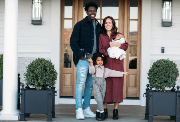Jrue Holiday with his wife Lauren, daughter Tyler and son Hendrix. (Source: nytimes.com)