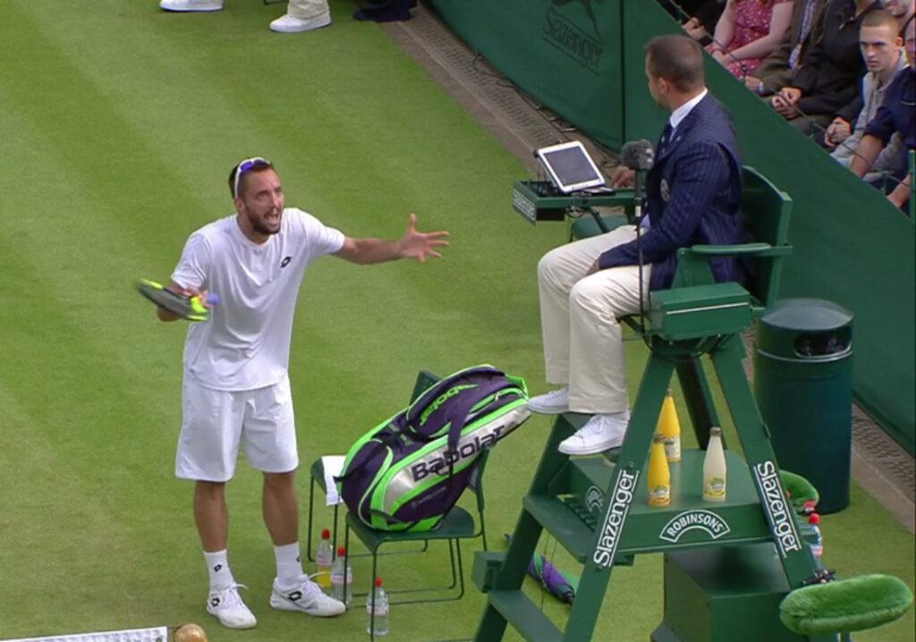 Viktor Troicki yelling at the umpire