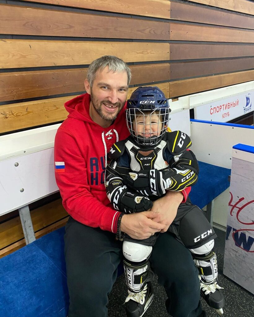 Alex Ovechkin and his first son Sergei posing for a picture after completion of practice for hockey (Source: Instagram)