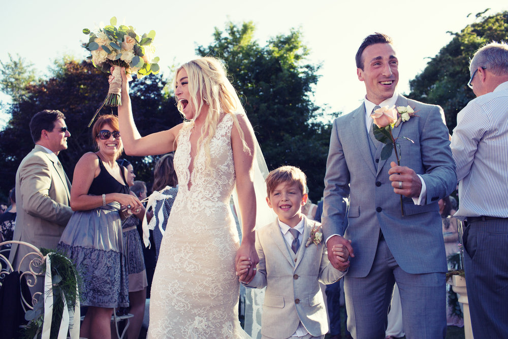 Brad Marchand along with his wife Katrina and son during their wedding in 2015 (Source: Instagram)